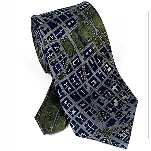 Josh Bach Mens CIVITAS Map of Washington DC Silk Necktie, Made in USA