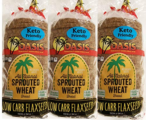 Oasis Flaxseed Bread, 3 Pack- Low Carb, Keto, All Natural, Sprouted (Best Tasting Sprouted Grain Bread)