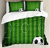 Boy's Room Queen Size Duvet Cover Set by Lunarable, Green Grass Field Soccer Playground with the Ball Scheme Stripes Strategy, Decorative 3 Piece Bedding Set with 2 Pillow Shams, Green Black White