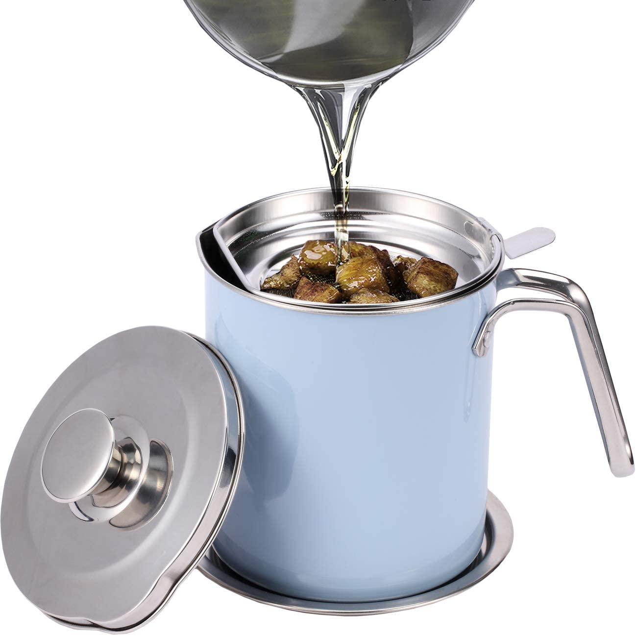 Eglaf 1.6L Stainless Steel Grease Strainer - Oil Container with Removable Filter - Dustproof Lid & Dripproof Base - Storage Can for Reusable Cooking Frying Oil, Fat (Blue)