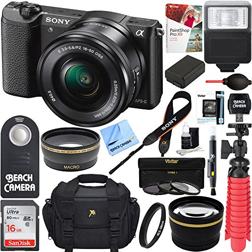 Professional Sony Alpha Dslr (Sony Alpha a5100 HD 1080p Mirrorless Digital Camera Black + 16-50mm Lens Kit + 32GB Accessory Bundle + DSLR Photo Bag + Extra Battery + Wide Angle Lens + 2x Telephoto Lens + Flash + Remote + Tripod)