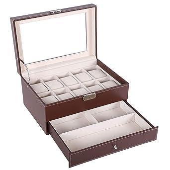 low priced 77c27 5a0df BASTUO 10本腕時計ケース、男性用腕時計収納ケース、透明ガラス蓋アクセサリーケース、ブラウン、表面革製