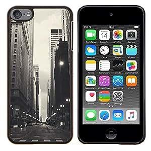 Negro Blanco Calles- Metal de aluminio y de plástico duro Caja del teléfono - Negro - iPod Touch 6