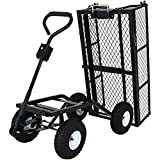 Sunnydaze Steel Dump Utility Garden Cart with Removable Sides, Heavy-Duty 660 Pound Capacity, Black