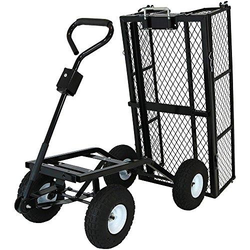 Sunnydaze Utility Steel Dump Garden Cart, Outdoor Lawn Wagon