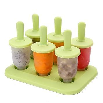 6 de células congeladas Ice Cream Pop Mold Popsicle fabricante del polo Herramientas de moldes hielo (Green): Amazon.es: Hogar
