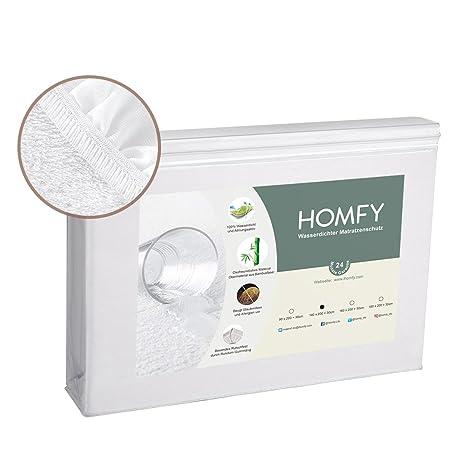 HOMFY - Protector impermeable para colchón, en diferentes tamaños, algodón, Weiß, 140