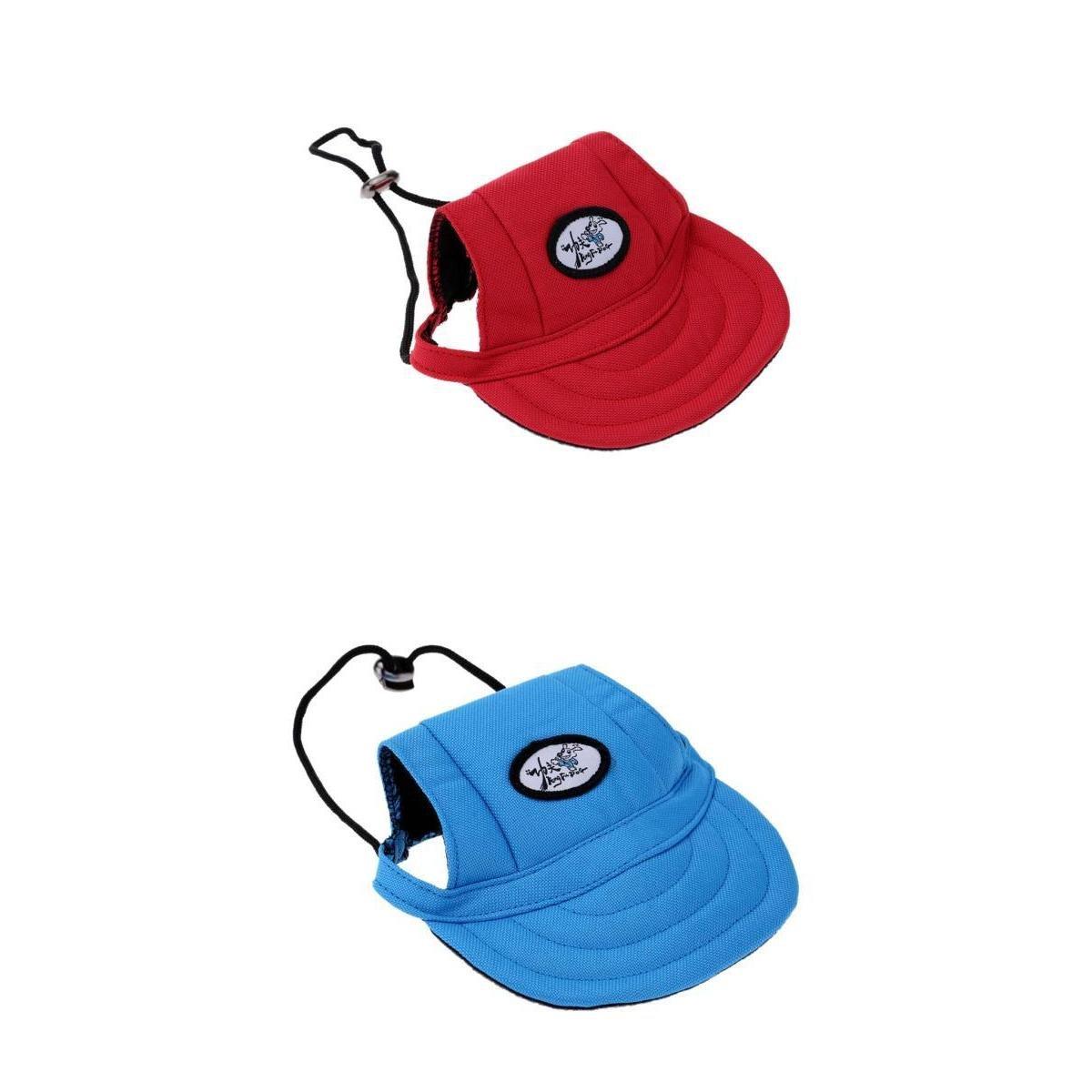 Homyl 2 Pcs Casquette de Baseball Chapeau avec Trous d'oreilles Réglable pour Petit Chien Chat Chiot Animaux pour Bouledogue/Setter Anglais/Yorkshire Terrier (Taille S Bleu +Rouge) - Bleu Rouge, S