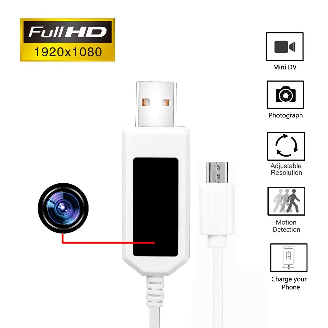 Security Camera - Aipinvip 1080P HD USB Charger Cable 16GB Motion Monitoring Nanny Cam with Home Security Camera System (for Android)