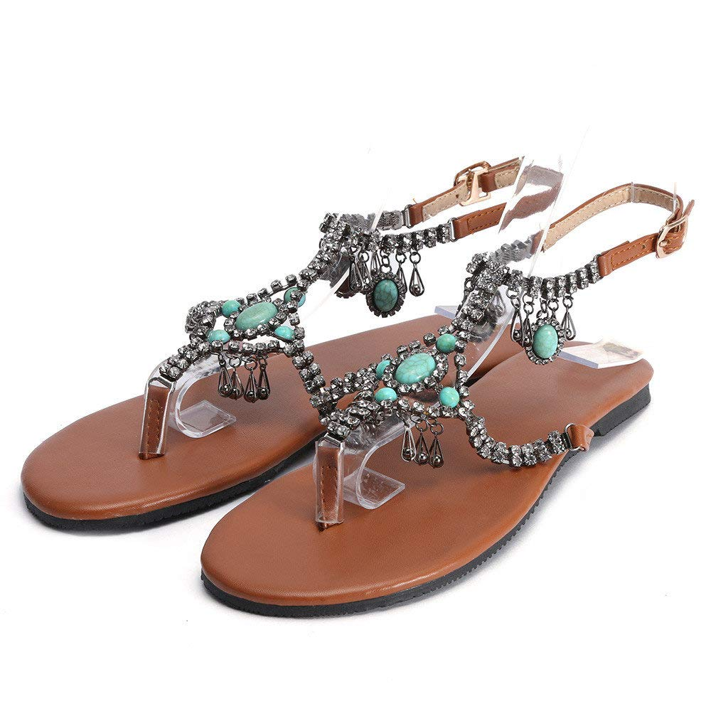Summer Gladiator Sandals for Women Casual Beach Shoes Flip Flops Platform Bohemian Beaded Flat Sandals Blue