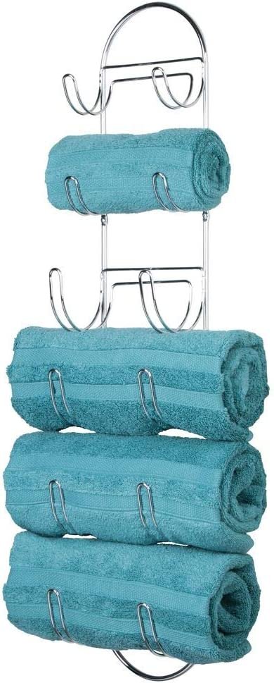 T/ürgarderobe aus Metall zum Einh/ängen an die Duschkabine oder Badt/ür bronzefarben mDesign Handtuchhalter ohne Bohren praktisches H/ängeregal mit 3 Stangen und mehreren Haken