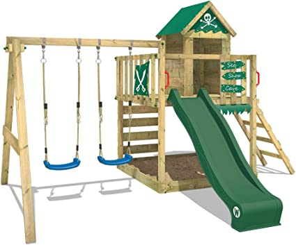 WICKEY Parque infantil de madera Smart Cave con columpio y tobogán verde, Casa de juegos de jardín con arenero y escalera para niños: Amazon.es: Bricolaje y herramientas