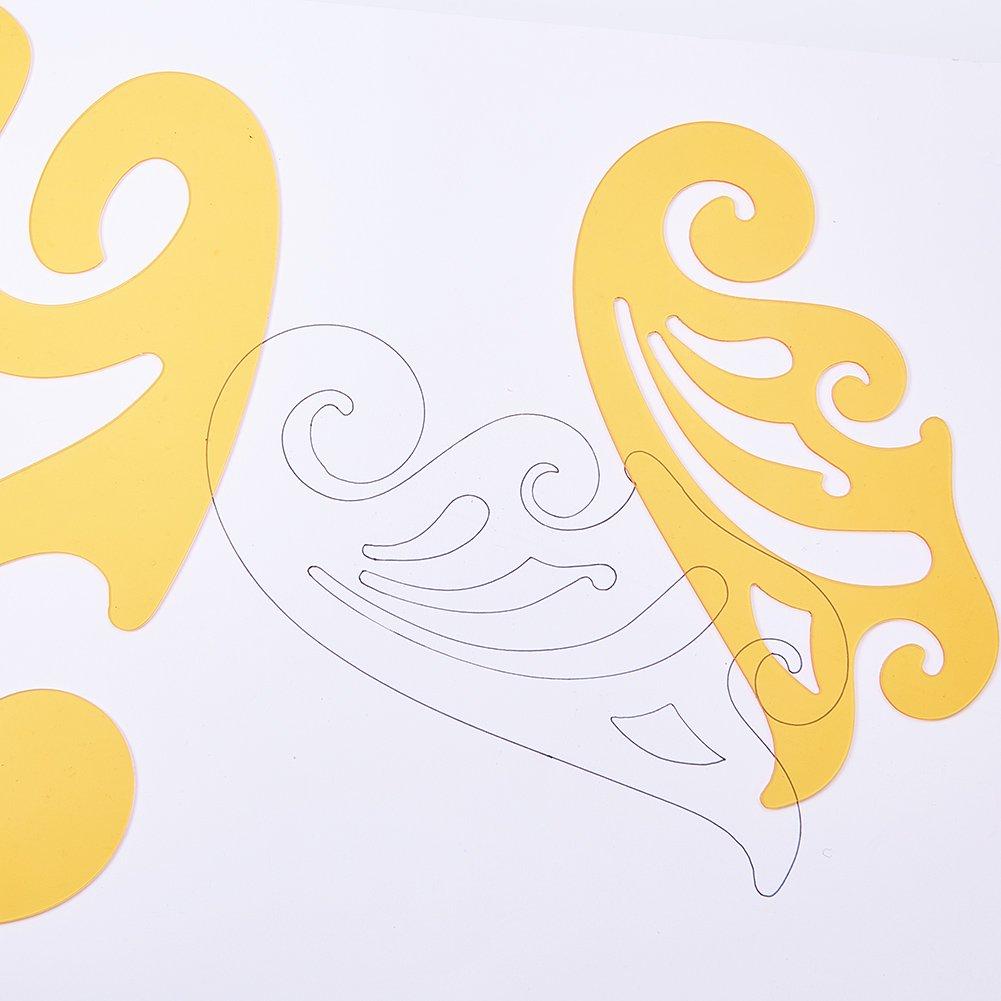 107/x 1/MM NBEADS 8PCS di French Curve Set Template Righello Set Disegno Template Strumenti per Cucire 156/ 263/x 74/ Goldenrod