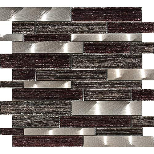 Mesh-Mounted Mosaic Tile,Glass and Aluminum in Silk Backed Polished Wall Tiles for Backsplash for Kitchen & Bathroom - Mounted Glass Tile Mesh
