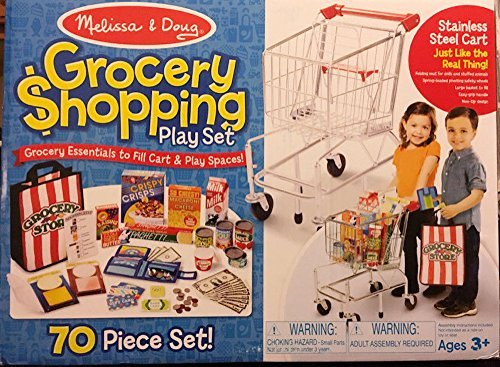 Melissa and Doug 70 Piece Grocery Shopping Play Set with Stainless Steel Cart