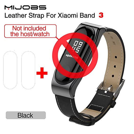 Mijobs for Xiaomi mi band 3 Wrist Strap Belt Genuine Leather Wristband for Mi Band3 Smart Bracelet for Xiaomi Band 3 Accessories (Black add Film)