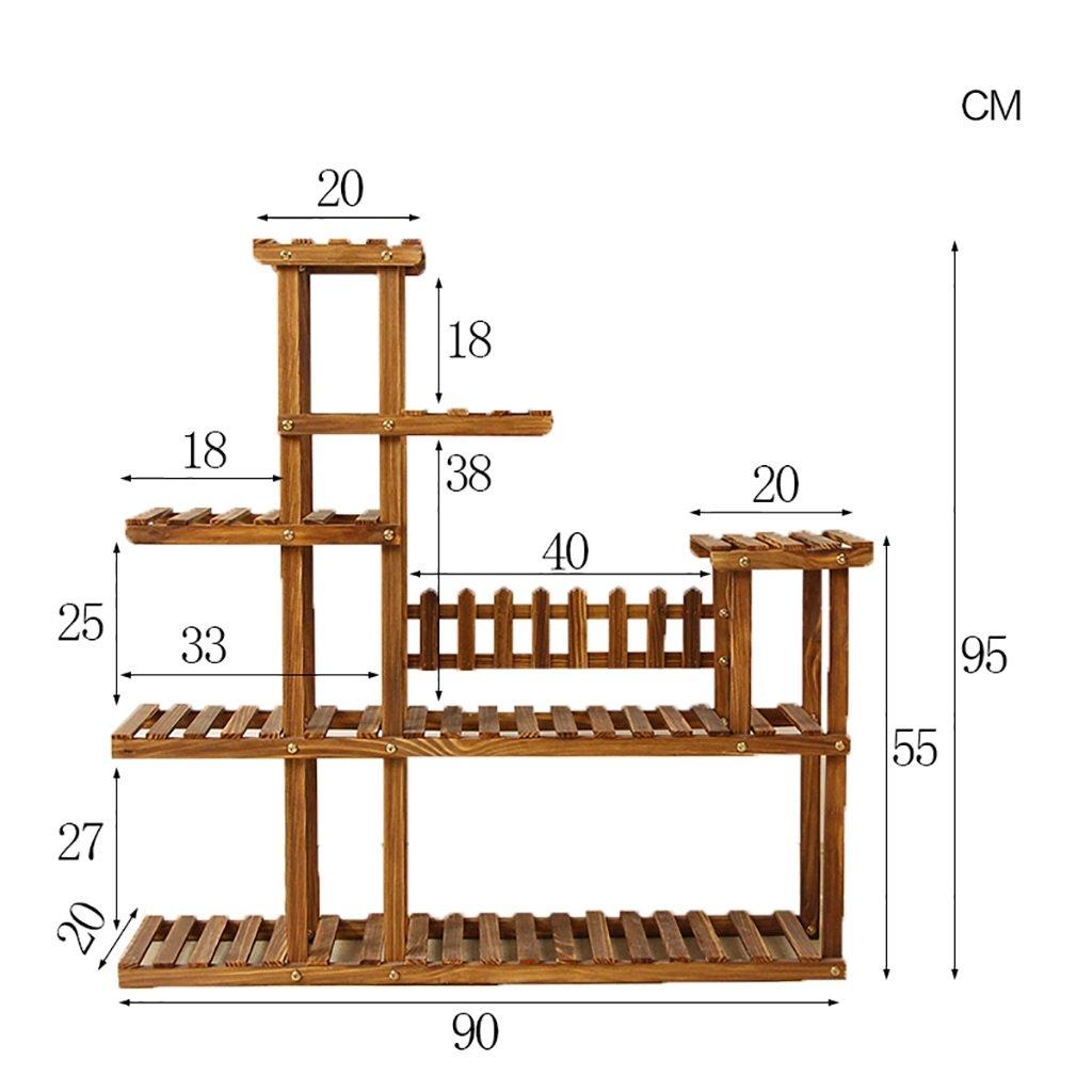 Chairs FL Cremagliera Fiore mensola di pianta Giardino multipiano in Legno massello per Interni ed Esterni in Legno Multi-Strato portavasi mensole per Piante (Dimensioni   90  20  95cm)