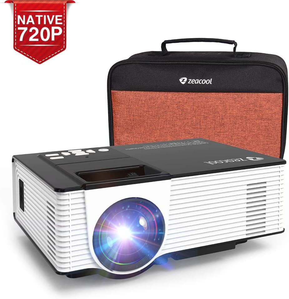 """Zeacool Mini HD Video Projector with Carrying Case, Native 720P with 170"""" Display & Full HD 1080P Support, 3600 Lux LED Portable Home Theater Projector for Movies, TV, Gaming and Gift Ideas"""