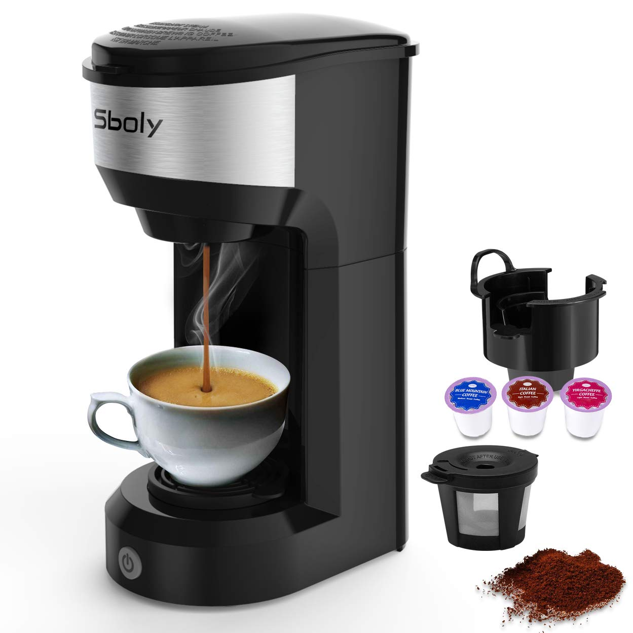 Sboly Single Serve Coffee Maker for K Cup Pods & Coffee Grounds, Small Coffee Machine Brewer with 90s Quick Brewing Technology, Compact & Super Lightweight Design for Travel, Black by Sboly (Image #1)