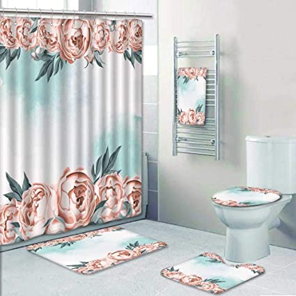 Amazon Philip Home 5 Piece Banded Shower Curtain Set Wedding