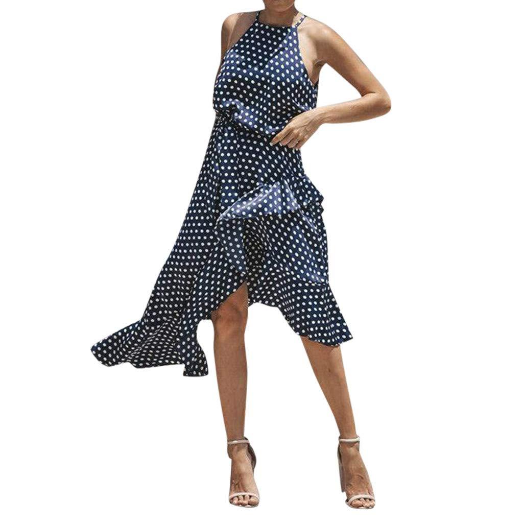 Veodhekai Women's Dress Boho Dot Sleeveless Dress Ladies Spotted Irregular Casual Holiday Dresses Navy