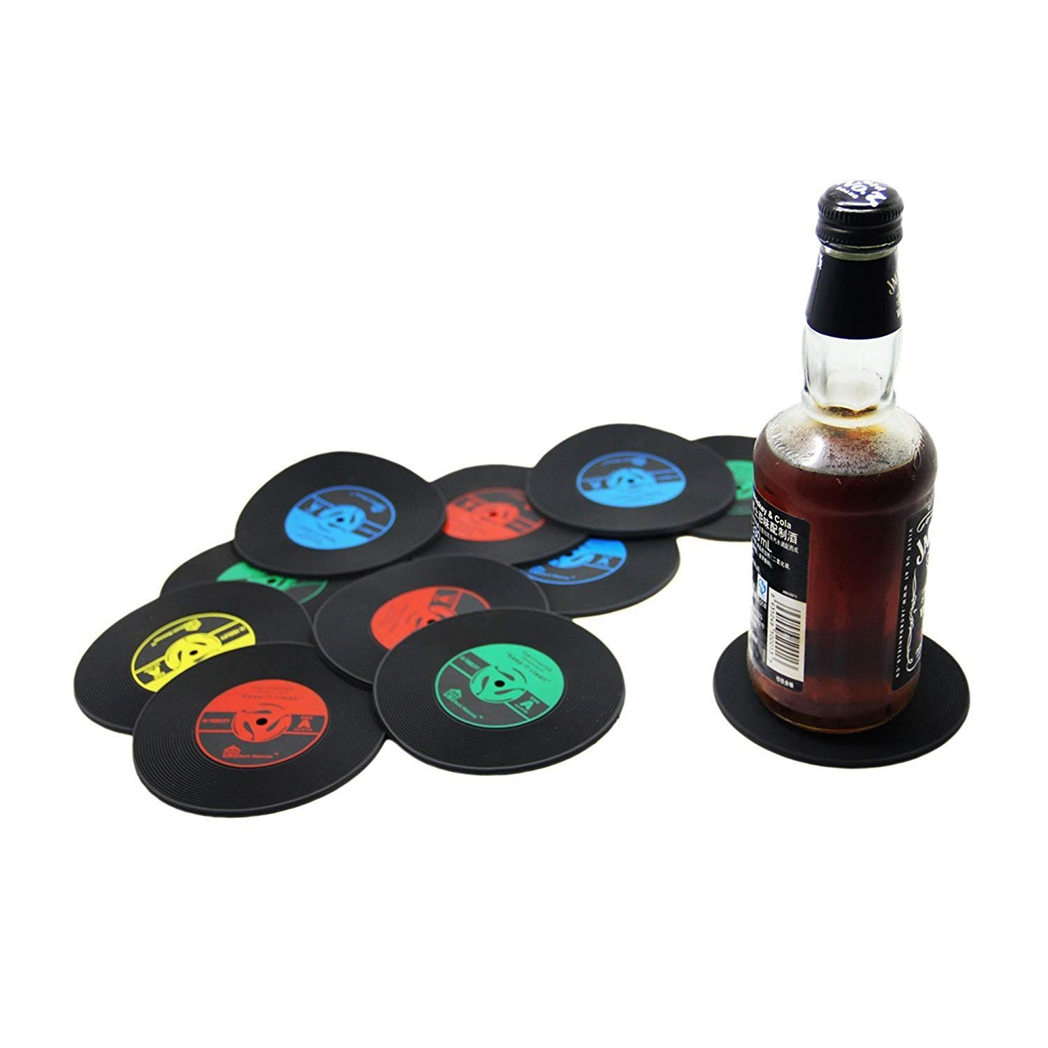 RXBC2011/ retro sottobicchiere set CD record vinyl Coffee drink Cup Mat silicone 4