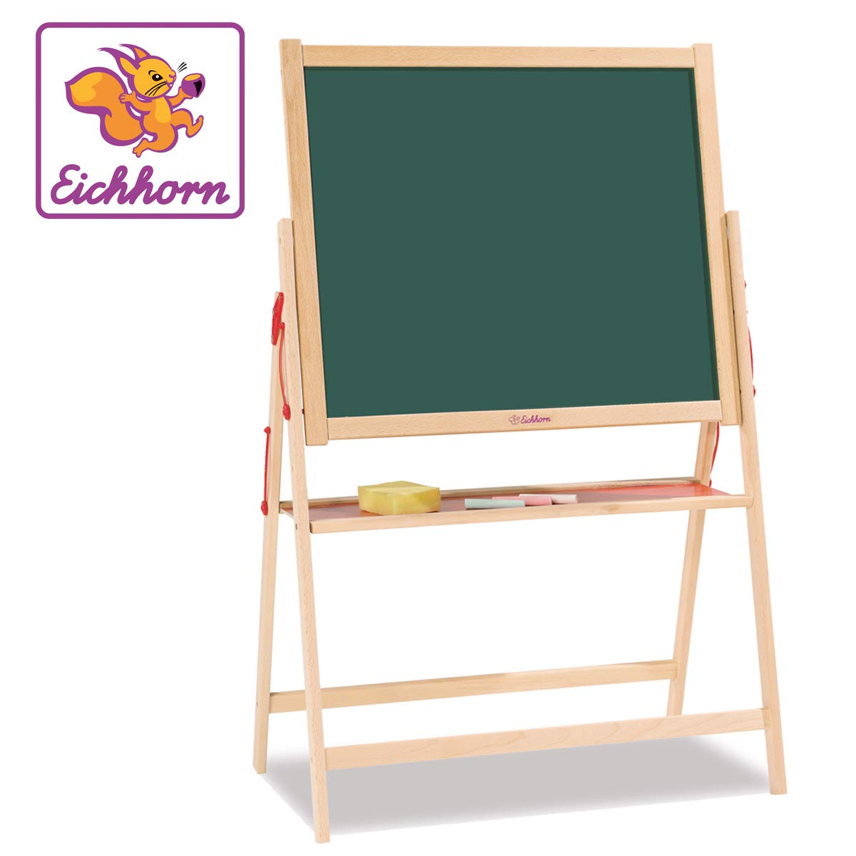 Eichhorn 100002578 Magnetic Board 35 x 56 x 87 cm with 10 Chalks 1 Sponge Beech Wood by Eichhorn