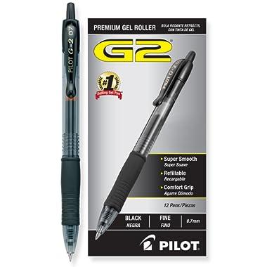 Pilot G2 Retractable Premium Gel Ink Roller Ball Pens, Fine Pt, Dozen Box, Black