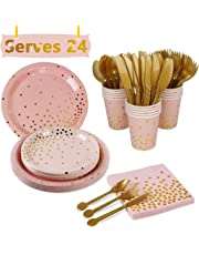 Party Supplies Decorations Dot tableware - 168Pcs Pink Gold Foil Dot Party Decoration Tableware Set including Paper Plate,Cups,Towels,Spoons,Cross,Knives for Girls Birthday Party,Baby Shower,Serves 24