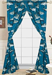 Goldenlinens 4 Pieces Rod Pocket Printed Blue Grey Shark Design Kids Window Curtains/Drape/Panels/Treatment Set with Tie Back # Shark Curtain