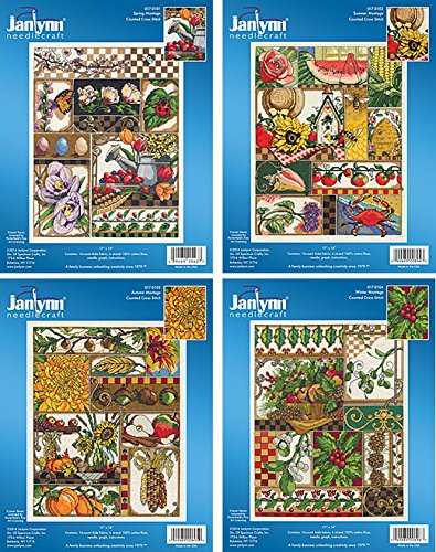 Janlynn Seasons Montage Counted Cross Stitch Kits - 4 Items: