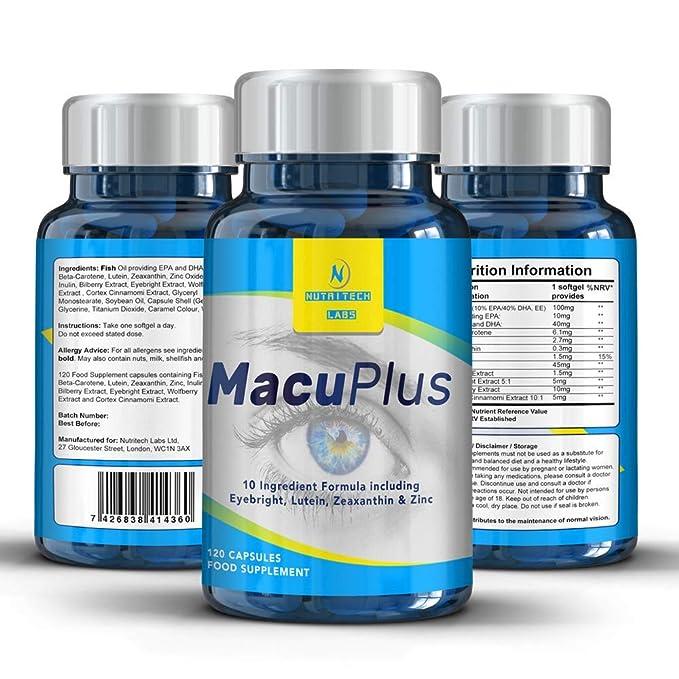 MacuPlus- Apoyo para la Vista Y Salud Macular con 10 ingredientes Probados para ojos: luteína y zeaxantina, aceite de pescado DHA, betacaroteno, ...