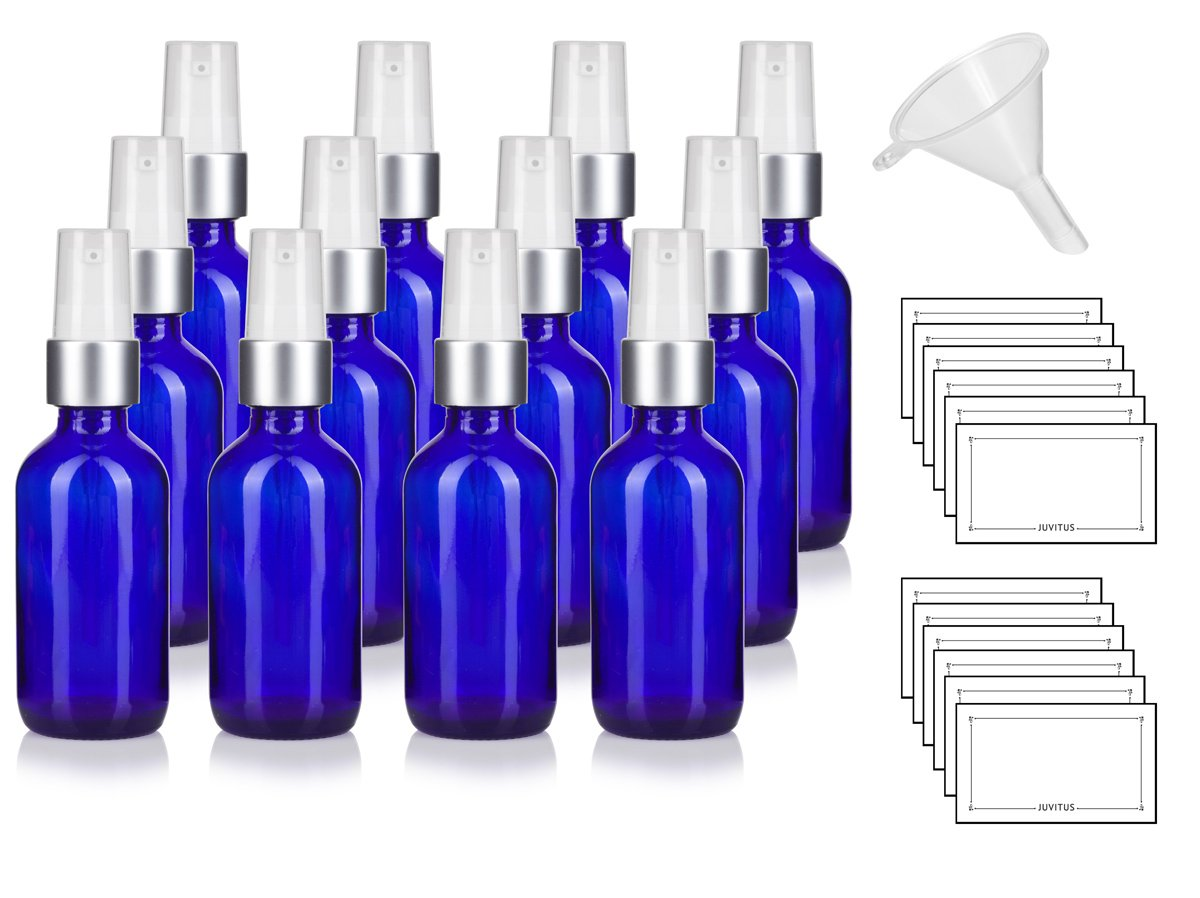 1 oz / 30 ml Cobalt Blue Glass Boston Round Luxury Silver and White Treatment Pump Bottle - (12 Pack) + Funnel and Labels by JUVITUS