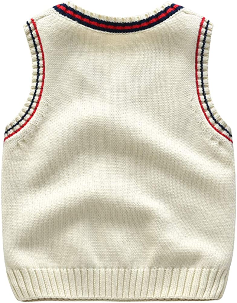 Happy childhood Baby Toddler Boys Solid Color V Neck Sweater Vest Sleeveless Pullover Knitted Waistcoat