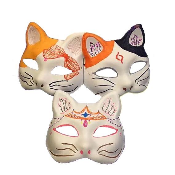 Meimask 10pcs Bricolaje Papel Blanco máscara de Pulpa en Blanco máscara Pintada a Mano Personalidad Creativo diseño Libre máscara (Cat): Amazon.es: Juguetes ...