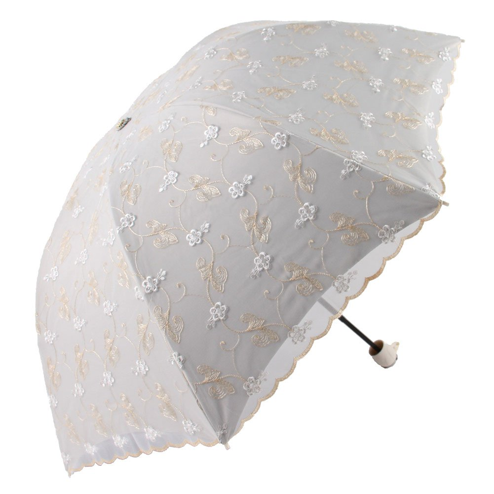 Honeystore Travel Sun Parasol Folding Brolly Anti-uv Sunshade Vintage Umbrella 3 Folding Yellow by Honeystore
