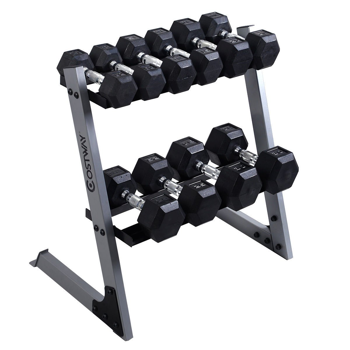 Giantex Dumbbell Weight Storage Rack Stand Home Gym Bench Base W/10 15 20 25 30lb Plates
