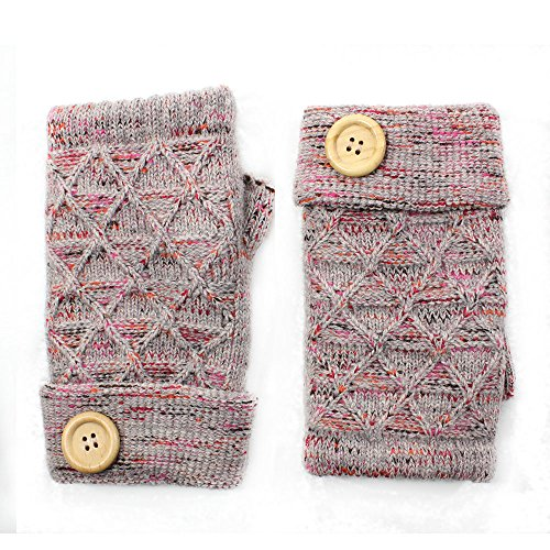LL- Womens Winter Knit Fingerless Fashion Gloves Fleece Lined Wooden Button (Beige2 Wooden Button)