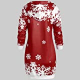 FRCOLT Women Merry Christmas Snowflake Printed Tops Hooded Sheath Long Sweatshirt