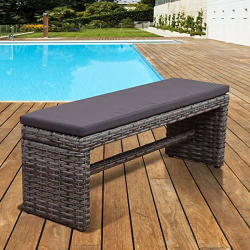 Outdoor Benches, Patio Bench,Freeport Wicker Bench,Grey 2-Seater Garden Bench,Patio Backless Bench With (2 Seater Bench Cushion)