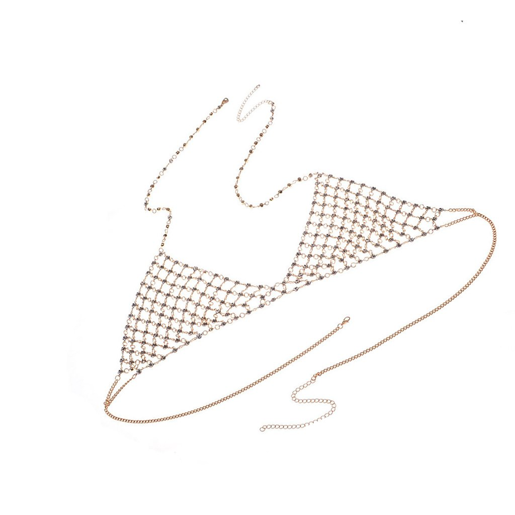 Dovewill Full Bling Rhinestone Crystal Bra Chains Triangle Bikini Choker Necklace Beach Body ewelry Lady Summer Jewelry