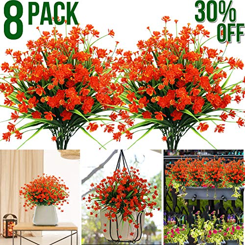 Artificial Flowers,8 Bundles Faux Plastic Greenery Shrubs Plants UV Resistant Outdoor Summer Plants Hanging Planter for Indoor Outdoor Home Table Wedding Garden Independence Day Decoration(Red)