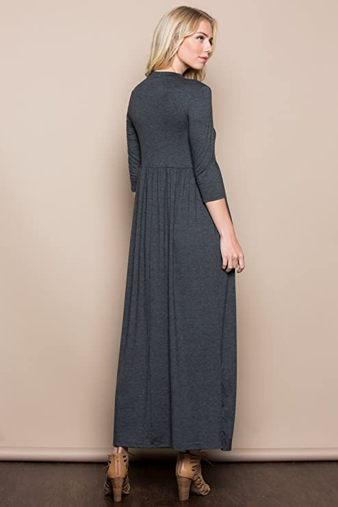 4a46a6824cf53 Annabelle Women s 3 4 Sleeve Long Maxi Dresses with Side Pockets at Amazon  Women s Clothing store