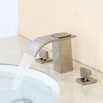 Lovedima Milly Waterfall Modern Widespread Bathroom Sink Faucet Basin Mixer  Tap Solid Brass in Brushed Nickel