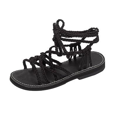 aa8821ec7 Corriee Women s Gladiator Lace Up Flat Sandals Female Fashion Summer Roman  Shoes Beach Slippers Black