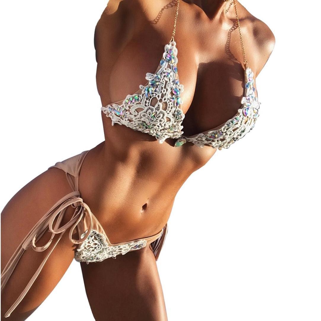 Womens Swimsuits,Bokeley Womens Two Piece Hand-Woven Beaded Bandage Bikini Push up Padded Bathing Suit Women Swimwear Sets (Beige, S)