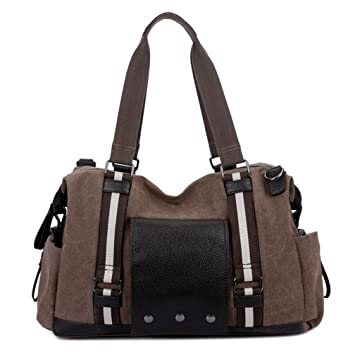 Flarut Vintage Canvas Duffel Sport Bag Fashion Men Messenger Crossbody Bag  Weekender Gym Women -brown 4cc60e9b50411