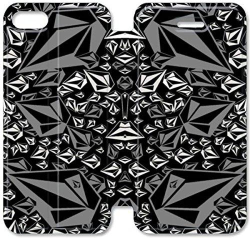 Flip étui en cuir PU Stand pour Coque iPhone 5 5S, bricolage 5 étui de téléphone cellulaire 5S étui en cuir Volcom R8M9BF Coque iPhone Retour Personnalisé
