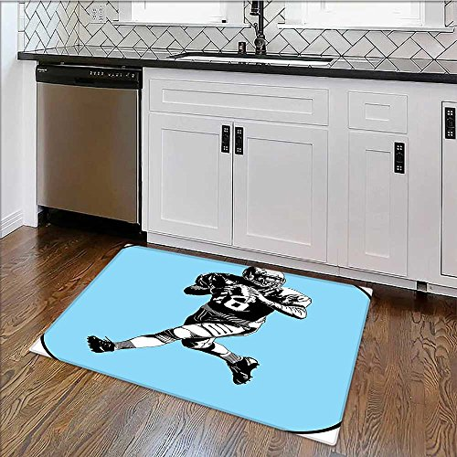 (Indoor/Outdoor Rug League Game Rugby Player Run Original KitschBlue Black White Stain Resistant Carpet W30