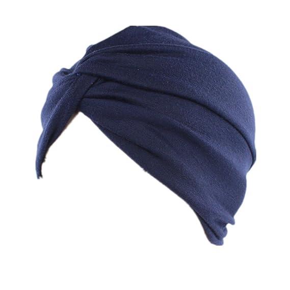 Sombrero del Turbante del algodón del Color Puro de la Moda de Las Mujeres  Casquillo musulmán 7b2ed1ddfd4